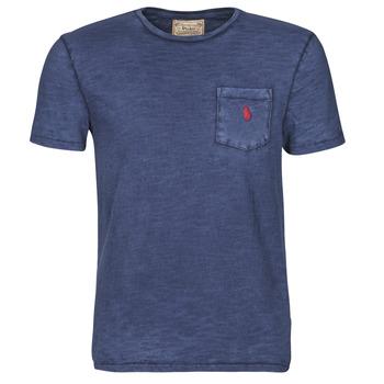 Ruhák Férfi Rövid ujjú pólók Polo Ralph Lauren T-SHIRT AJUSTE COL ROND EN COTON LOGO PONY PLAYER Kék