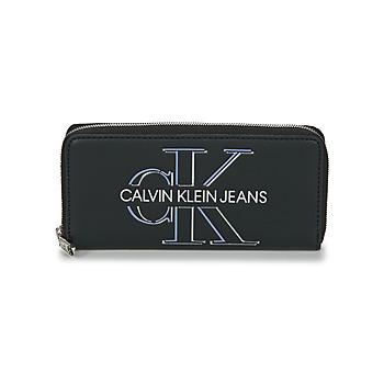 Táskák Női Pénztárcák Calvin Klein Jeans ZIP AROUND GLOW Fekete