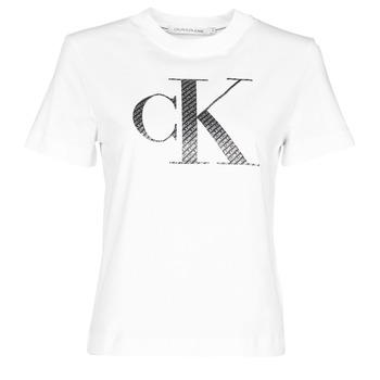 Ruhák Női Rövid ujjú pólók Calvin Klein Jeans SATIN BONDED FILLED CK TEE Fehér