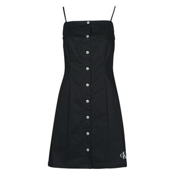 Ruhák Női Rövid ruhák Calvin Klein Jeans COTTON TWILL BUTTON DRESS Fekete