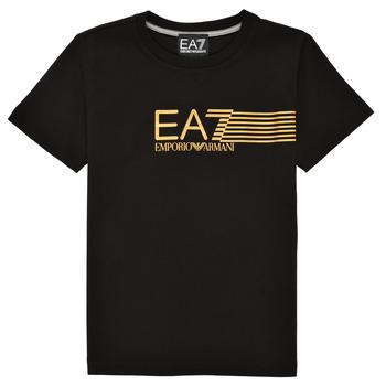 Ruhák Fiú Rövid ujjú pólók Emporio Armani EA7 3KBT54-BJ02Z-1200 Fekete  / Arany