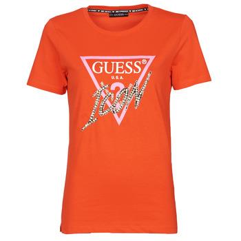 Ruhák Női Rövid ujjú pólók Guess SS CN ICON TEE Piros