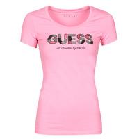 Ruhák Női Rövid ujjú pólók Guess SS RN MARTINA TEE Rózsaszín