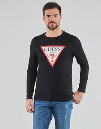 Ruhák Férfi Hosszú ujjú pólók Guess CN LS ORIGINAL LOGO TEE Fekete