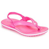 Cipők Lány Lábujjközös papucsok Crocs CROCBAND STRAP FLIP K Rózsaszín