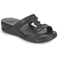 Cipők Női Papucsok Crocs CROCSMONTEREYSHIMMERSLPONWDG W Fekete