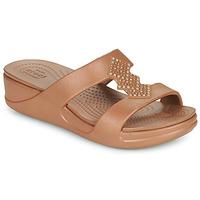 Cipők Női Papucsok Crocs CROCSMONTEREYSHIMMERSLPONWDG W Bronz