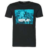 Ruhák Férfi Rövid ujjú pólók Replay  Fekete  / Kék