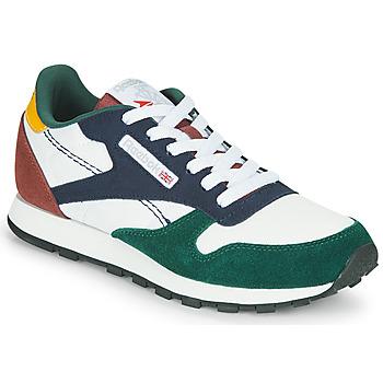 Cipők Gyerek Rövid szárú edzőcipők Reebok Classic CL LTHR Fehér / Zöld / Kék