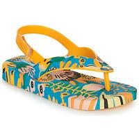 Cipők Gyerek Lábujjközös papucsok Melissa MINI MELISSA & IPANEMA Citromsárga / Kék