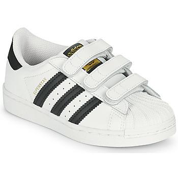 Cipők Gyerek Rövid szárú edzőcipők adidas Originals SUPERSTAR CF C Fehér / Fekete