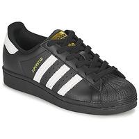Cipők Gyerek Rövid szárú edzőcipők adidas Originals SUPERSTAR J Fekete  / Fehér