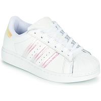 Cipők Lány Rövid szárú edzőcipők adidas Originals SUPERSTAR J Fehér / Irizáló