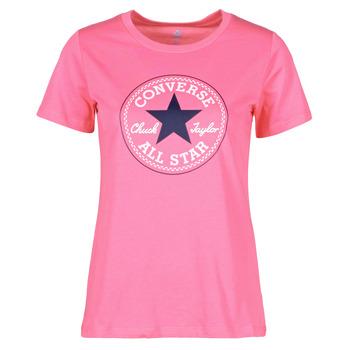 Ruhák Női Rövid ujjú pólók Converse CHUCK PATCH NOVA TEE Rózsaszín