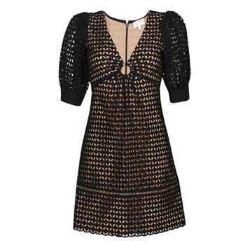 Ruhák Női Rövid ruhák MICHAEL Michael Kors GEO EYELET MINI DRESS Fekete