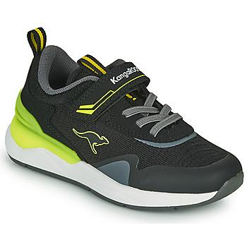 Cipők Fiú Rövid szárú edzőcipők Kangaroos KD-GYM EV Fekete  / Citromsárga