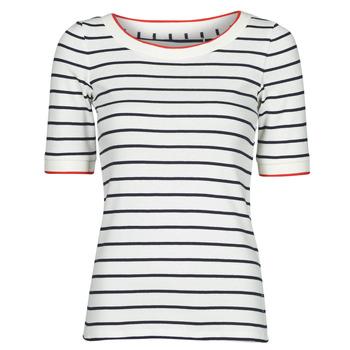 Ruhák Női Rövid ujjú pólók Esprit RAYURES COL ROUGE Fehér