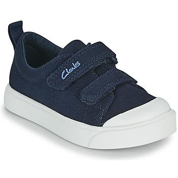 Cipők Gyerek Rövid szárú edzőcipők Clarks CITY BRIGHT T Tengerész