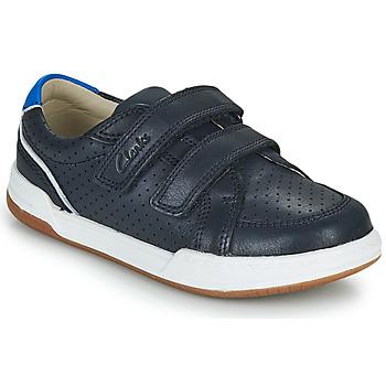 Cipők Gyerek Rövid szárú edzőcipők Clarks FAWN SOLO K Tengerész