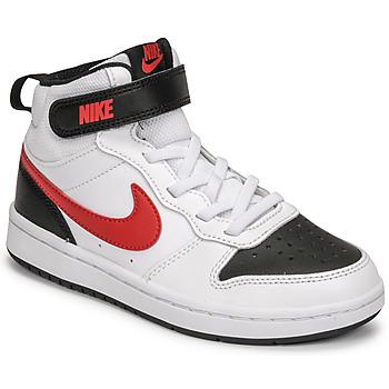 Cipők Fiú Rövid szárú edzőcipők Nike NIKE COURT BOROUGH MID 2 Fehér / Piros / Fekete