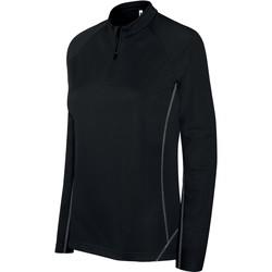 Ruhák Női Melegítő kabátok Proact Sweat femme  Running 1/4 Zip noir