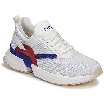 Cipők Női Rövid szárú edzőcipők Skechers SPLIT/OVERPASS Fehér / Kék / Piros