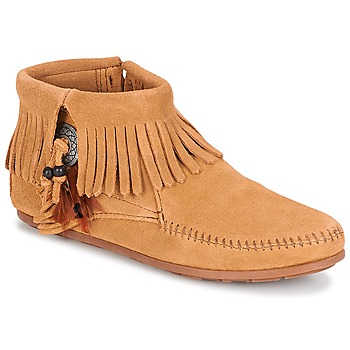 Cipők Női Csizmák Minnetonka CONCHO FEATHER SIDE ZIP BOOT Teve