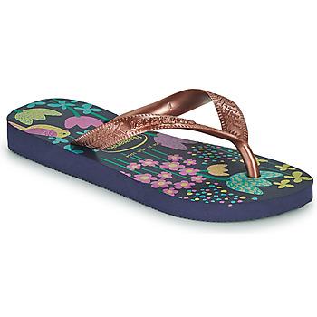 Cipők Lány Lábujjközös papucsok Havaianas KIDS FLORES Tengerész / Arany
