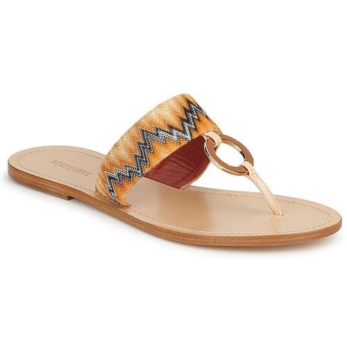 Cipők Női Lábujjközös papucsok Missoni VM048 Narancssárga