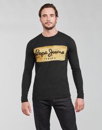 Ruhák Férfi Hosszú ujjú pólók Pepe jeans CHARING LS Fekete
