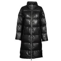 Ruhák Női Steppelt kabátok MICHAEL Michael Kors LONG FAUX LTHR PUFFER Fekete