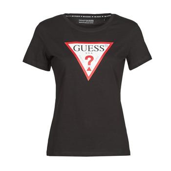Ruhák Női Rövid ujjú pólók Guess SS CN ORIGINAL TEE Fekete