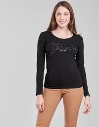 Ruhák Női Hosszú ujjú pólók Guess LS CN RAISA TEE Fekete