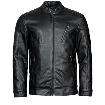 Ruhák Férfi Bőrkabátok / műbőr kabátok Guess PU LEATHER BIKER Fekete