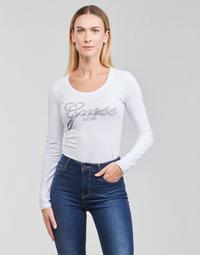 Ruhák Női Hosszú ujjú pólók Guess LS CN RAISA TEE Fehér