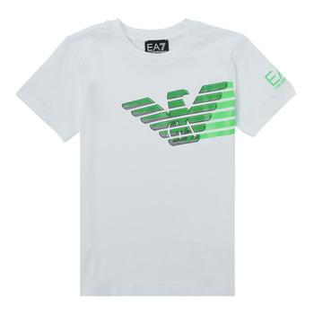 Ruhák Fiú Rövid ujjú pólók Emporio Armani EA7 THAMIA Fehér / Zöld