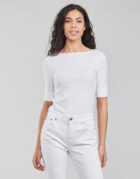Ruhák Női Hosszú ujjú pólók Lauren Ralph Lauren JUDY-ELBOW SLEEVE-KNIT Fehér