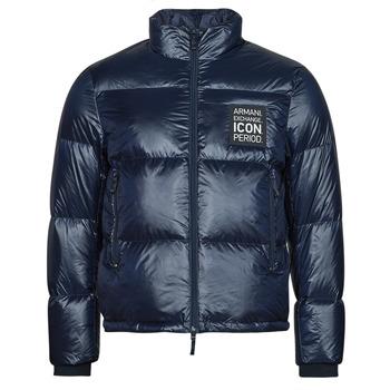 Ruhák Férfi Steppelt kabátok Armani Exchange 8NZBP3 Tengerész