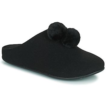 Cipők Női Mamuszok FitFlop CHRISSIE POM POM SLIPPERS Fekete