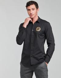 Ruhák Férfi Hosszú ujjú ingek Versace Jeans Couture SLIM PRINT V EMBLEM GOLD Fekete  / Arany