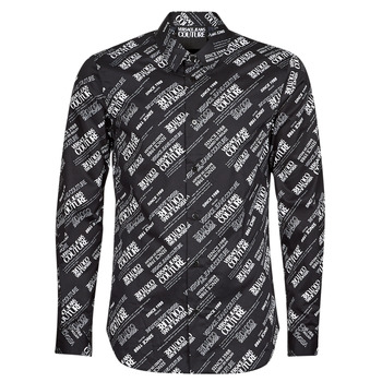 Ruhák Férfi Hosszú ujjú ingek Versace Jeans Couture SLIM PRINT WARRANTY Fekete  / Fehér