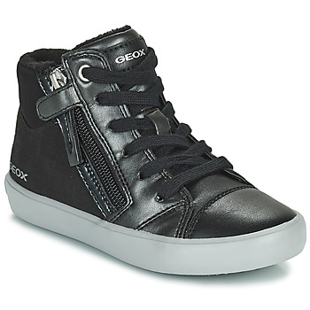 Cipők Lány Magas szárú edzőcipők Geox GISLI Fekete  / Ezüst