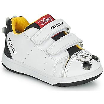 Cipők Fiú Rövid szárú edzőcipők Geox NEW FLICK Fehér / Fekete  / Piros
