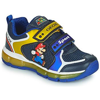 Cipők Fiú Rövid szárú edzőcipők Geox ANDROID Kék / Citromsárga