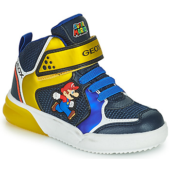 Cipők Fiú Magas szárú edzőcipők Geox GRAYJAY Kék / Citromsárga