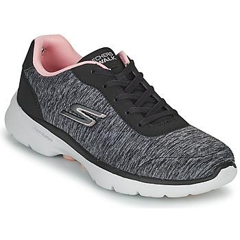Cipők Női Rövid szárú edzőcipők Skechers GO WALK 6 Szürke / Rózsaszín