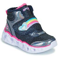 Cipők Lány Magas szárú edzőcipők Skechers HEART LIGHTS Tengerész / Led