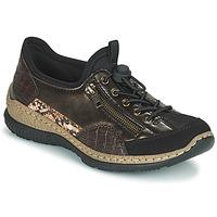 Cipők Női Rövid szárú edzőcipők Rieker ALINDA Bronz / Fekete