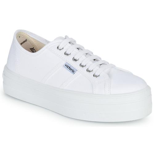Cipők Női Rövid szárú edzőcipők Victoria BLUCHER LONA PLATAFORMA Fehér