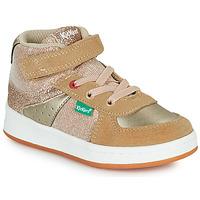 Cipők Lány Magas szárú edzőcipők Kickers BILBON MID Bézs